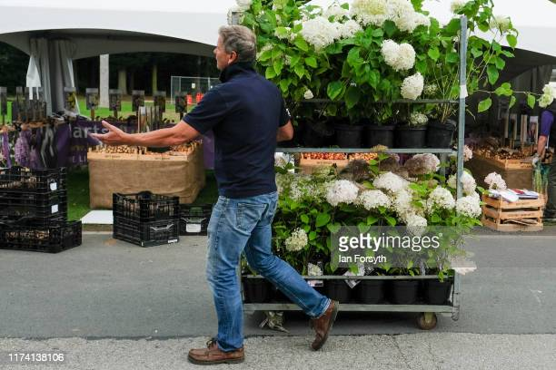 A man pulls a stand loaded with flowers during final preparations on staging day for the Harrogate Autumn Flower Show on September 12 2019 in...