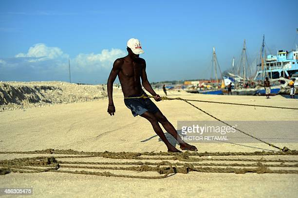A man pulls nets with his catch from the sea at Wharf Jeremie Cite Soleil PortauPrince on April 23 2014 The fish will be sold at market AFP...