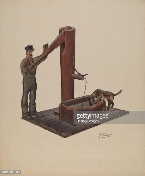 Man Pumping Water, circa 1937. Artist Beverly Chichester.