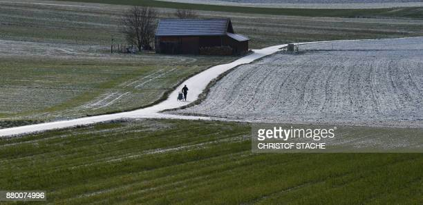 Man pushes a baby stroller as he jogs through the landscape slightly covered in snow during a sunny morning with temperatures around the freezing...