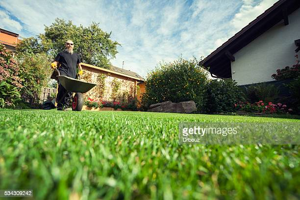 man pushing wheelbarrow in  backyard at his home - low angle view stock pictures, royalty-free photos & images