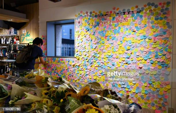 A man put a message for the victims of the arson of Kyoto Animation studio on a message board in Akihabara district on July 25 2019 in Tokyo Japan...