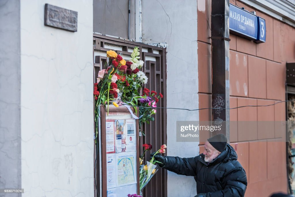 Tribute in memory of  Boris Nemtsov, politician murdered in 2015