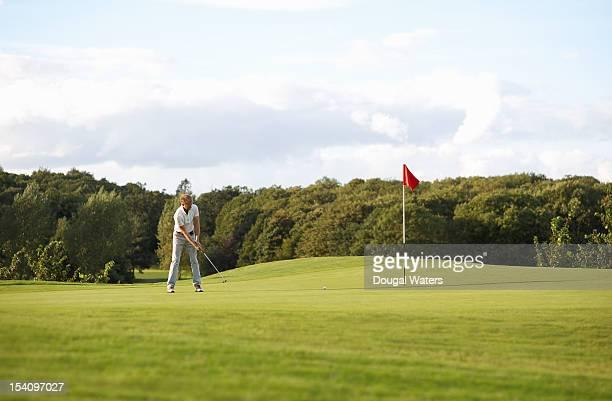 man putting on golf course. - einlochen golf stock-fotos und bilder