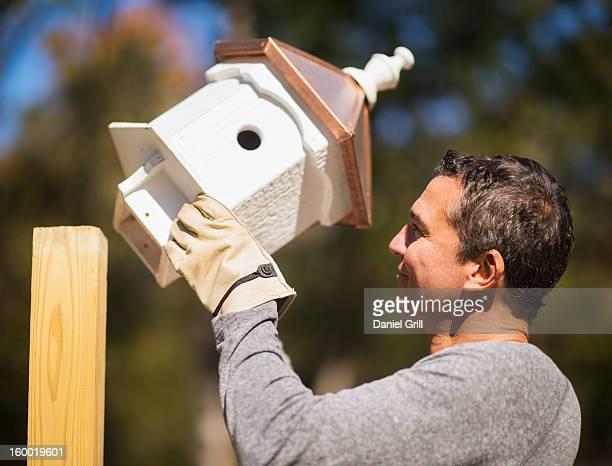 Man putting up birdhouse