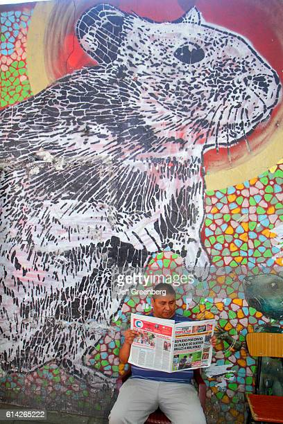 Man reading a newspaper sat in front of a wall mural Avenida Rivadavia