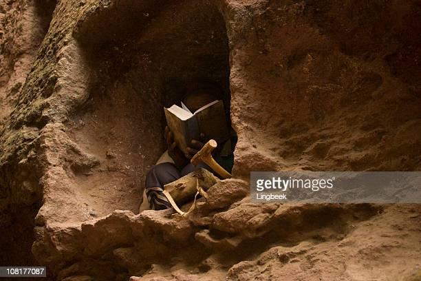 Man reading bible in Lalibela, Ethiopia