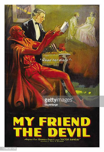 Man reads a girls diary accompanied by the devil on a poster that advertises the movie 'My Friend the Devil' 1922