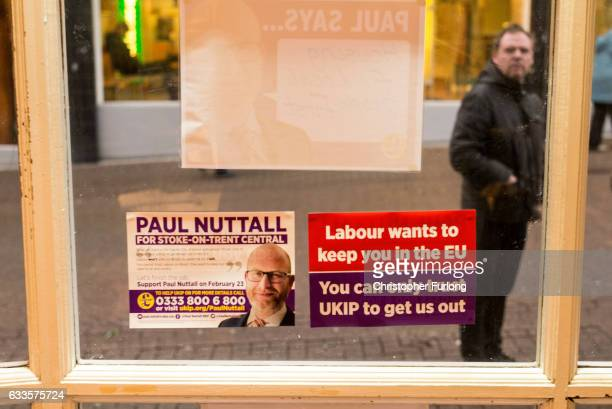 A man reads UKIP election posters in Hanley on February 2 2017 in StokeonTrent England The StokeOnTrent central byelection has been called after...