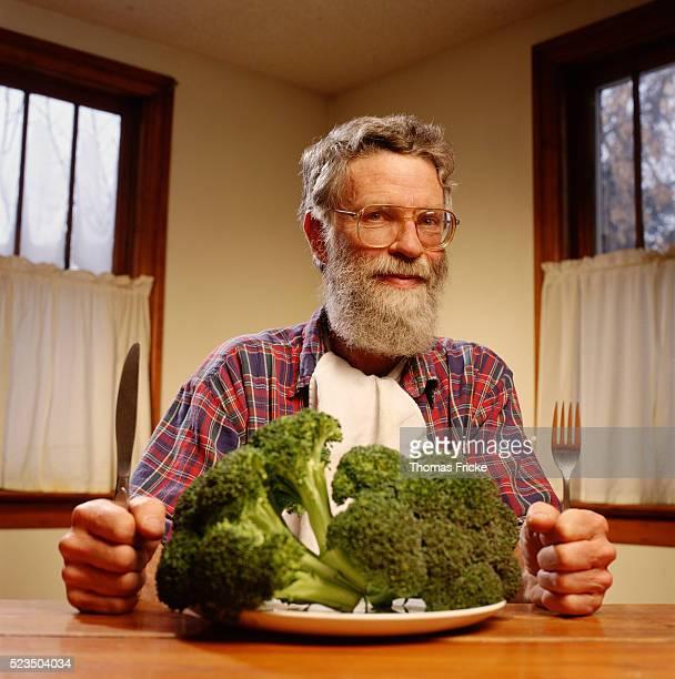 Man Ready to Eat Broccoli