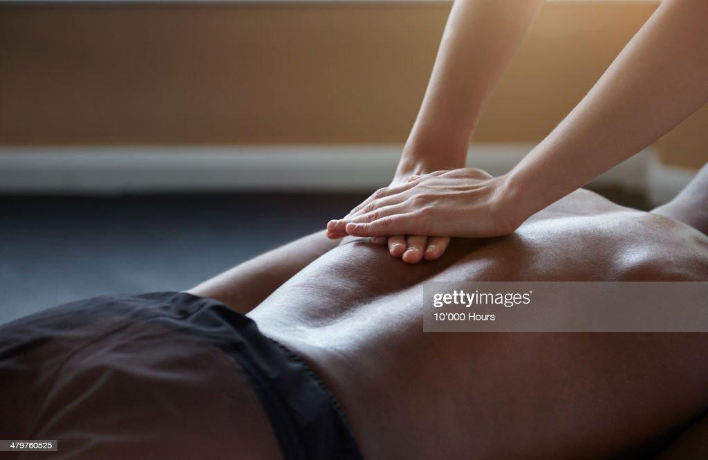 Man receiving a massage : Stock Photo