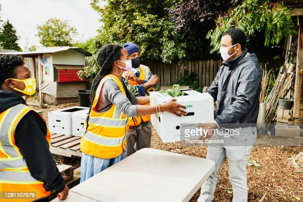 man receiving csa box from volunteer at community garden - assistance stock pictures, royalty-free photos & images