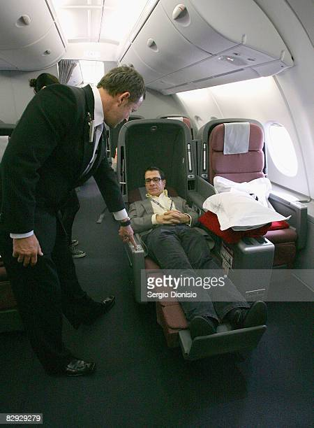 A man relaxes in the new business class seat onboard the new Qantas A380 flagship the NancyBird Walton' as she joins the Qantas fleet at Sydney...