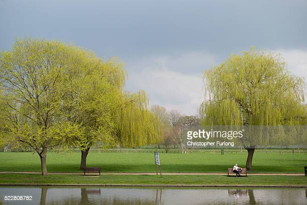 A man relaxes looking out on the River Avon outside the Royal Shakespear Company on April 19 2016 in StratforduponAvon England 2016 will see the...