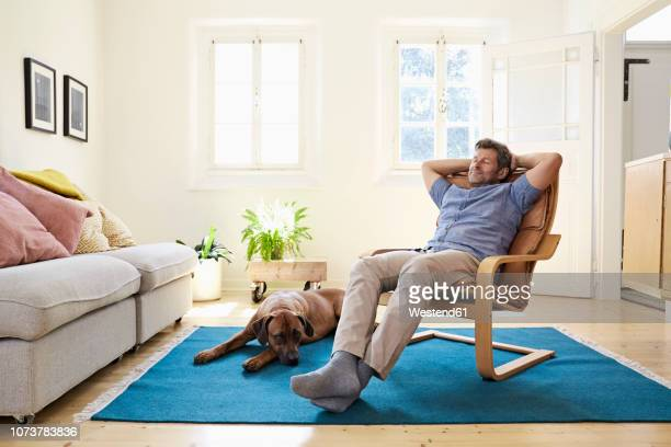 man relaxing at home with his dog by his side - 椅子 ストックフォトと画像