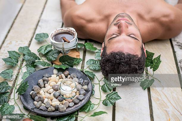 Man relaxing at the spa