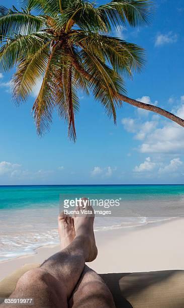 Man relaxing on a tropical beach