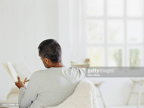 Man relaxing on sofa reading book, rear view