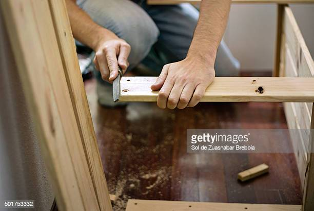 Man remodeling a room of his home