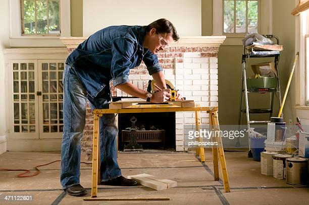 Man renovating home interior