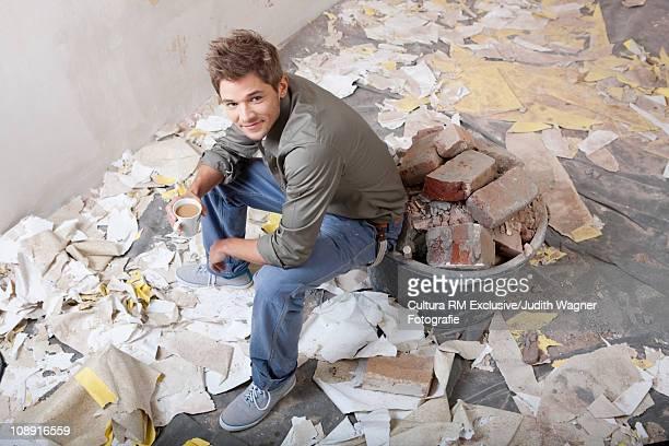 Man renovating room