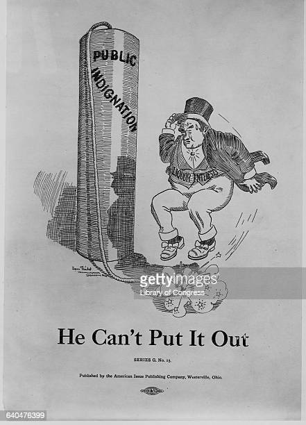 A man representing 'liqour Interests' jumps on the burning fuse of a stick of dynamite marked 'Public Indignation' in a political cartoon captioned...