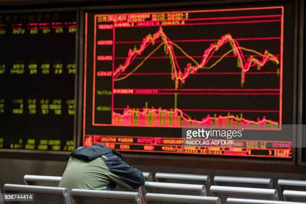 TOPSHOT A man rests as he keeps an eye on stock price movements displayed on a screen at a securities company in Beijing on March 23 2018 Asian...