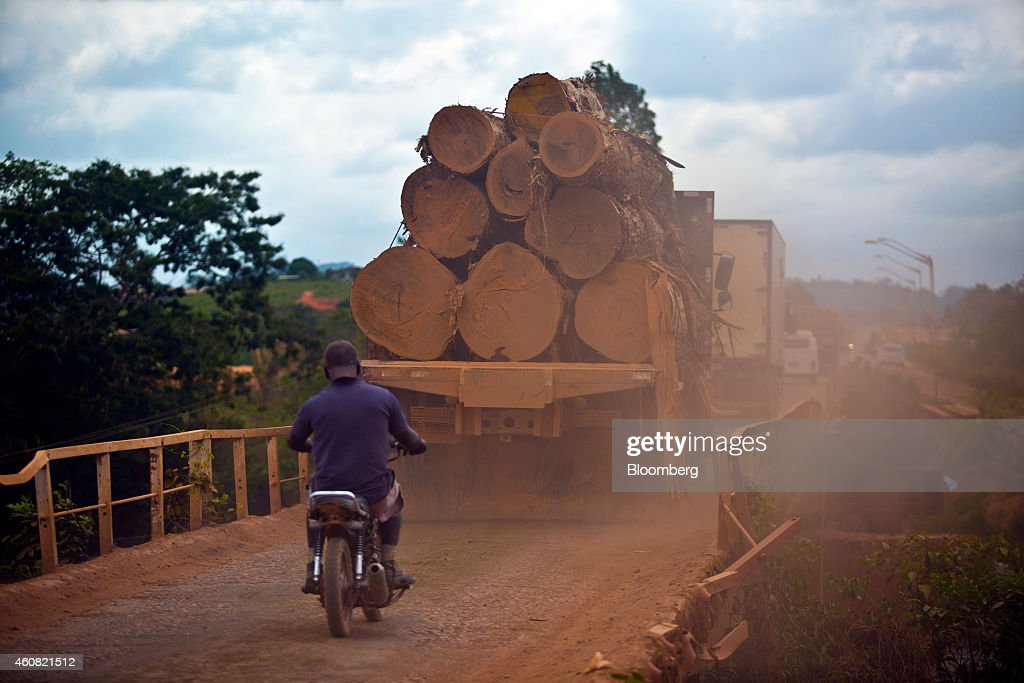 A man rides a motorcycle behind a truck hauling cut logs to a sawmill in Anapu, Brazil, on Wednesday, Dec. 17, 2014. The rate of deforestation Brazil's Amazon rain forest dropped 18 percent over the last year, according to a report by the country's environment minister in November. Photographer: Dado Galdieri/Bloomberg via Getty Images