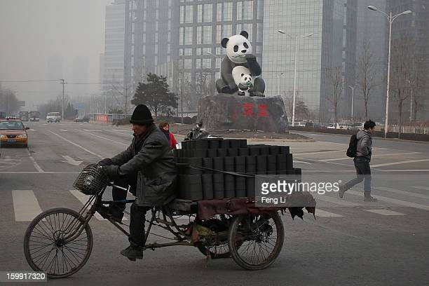 A man rides a tricycle to transport coal through a panda sculpture during severe pollution on January 23 2013 in Beijing China The air quality in...