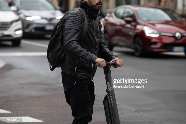 Man rides an electric scooter on Corso Venezia on September 23, 2020 in Milan, Italy. Since the end of lockdown Milan authorities have added a...