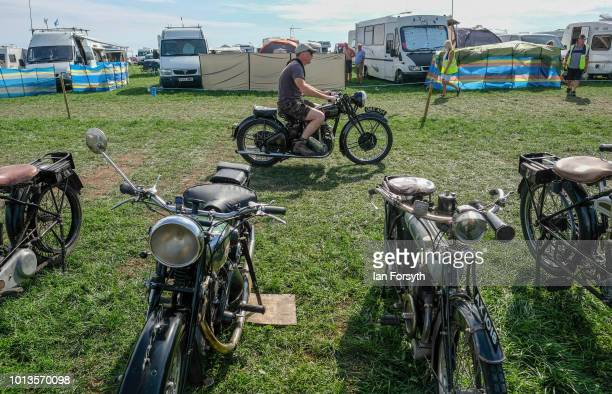 Man rides his vintage motorcycle during the final day of the Whitby Traction Engine Rally on August 5, 2018 in Whitby, England. Situated close to the...