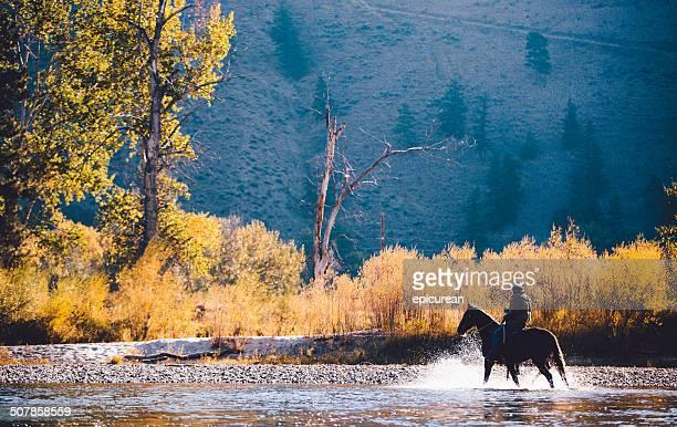homem passeios a cavalo através de águas rasas, ao longo da margem do rio - montana - fotografias e filmes do acervo