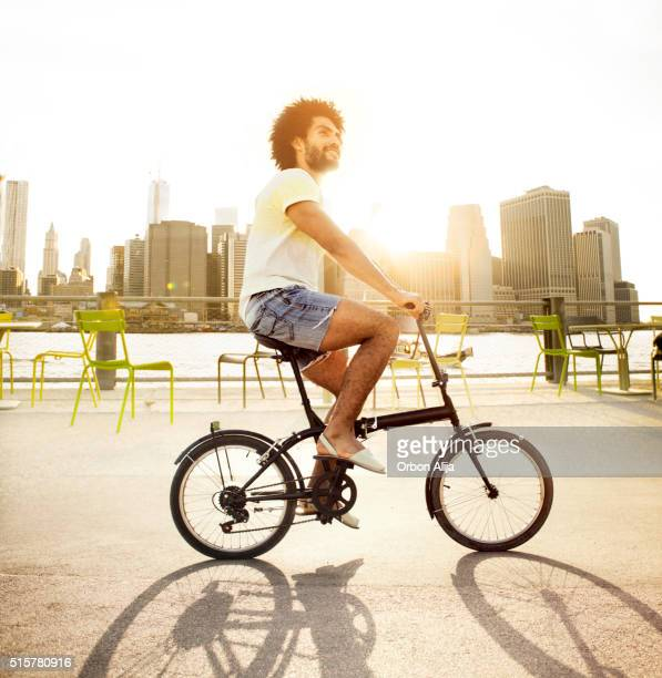 Man riding a bike in New York