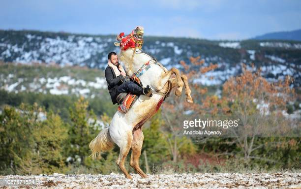 Man, riding a horse, plays ruleless javelin, generally known as black javelin, in Usak, Turkey on January 22, 2019. Ruleless javelin is a favourite...