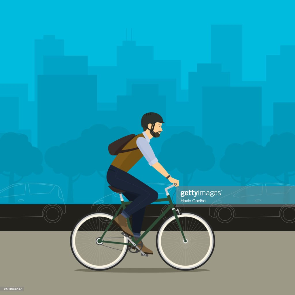 Man riding bicycle on city street illustration : Stock Photo