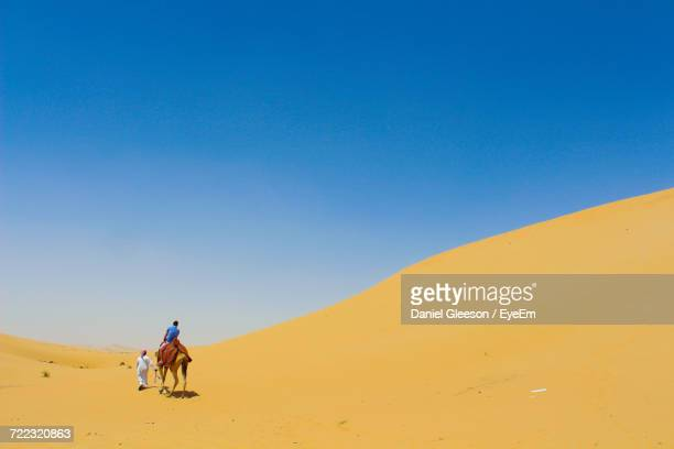 Man Riding Camel In Desert Against Clear Sky