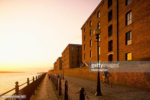 Man riding cycle at Albert dock