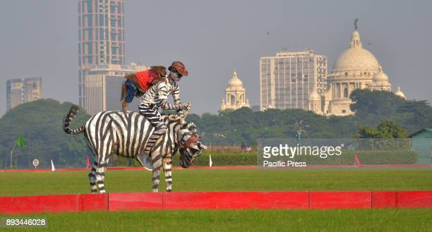 A man riding his horse painted like a zebra and a monkey holding his shoulders while doing some tricks The Indian army exhibits their skills during...