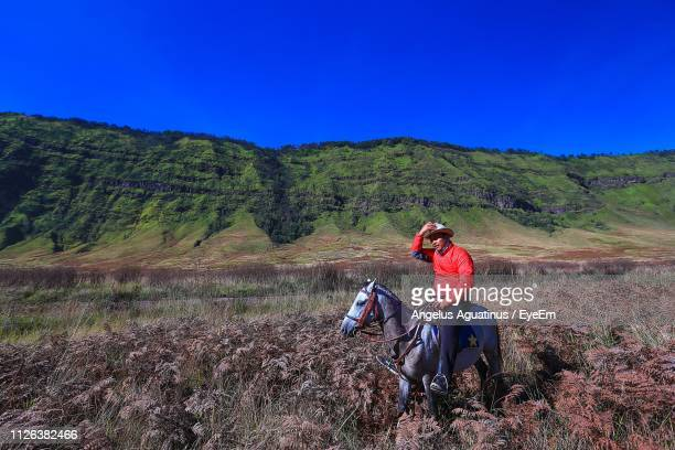 Man Riding Horse On Field Against Sky During Sunny Day