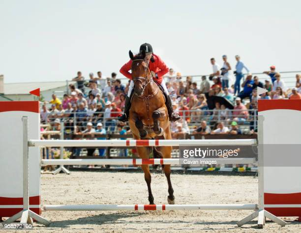 man riding horse while jumping on hurdle at sport event - 障害馬術 ストックフォトと画像