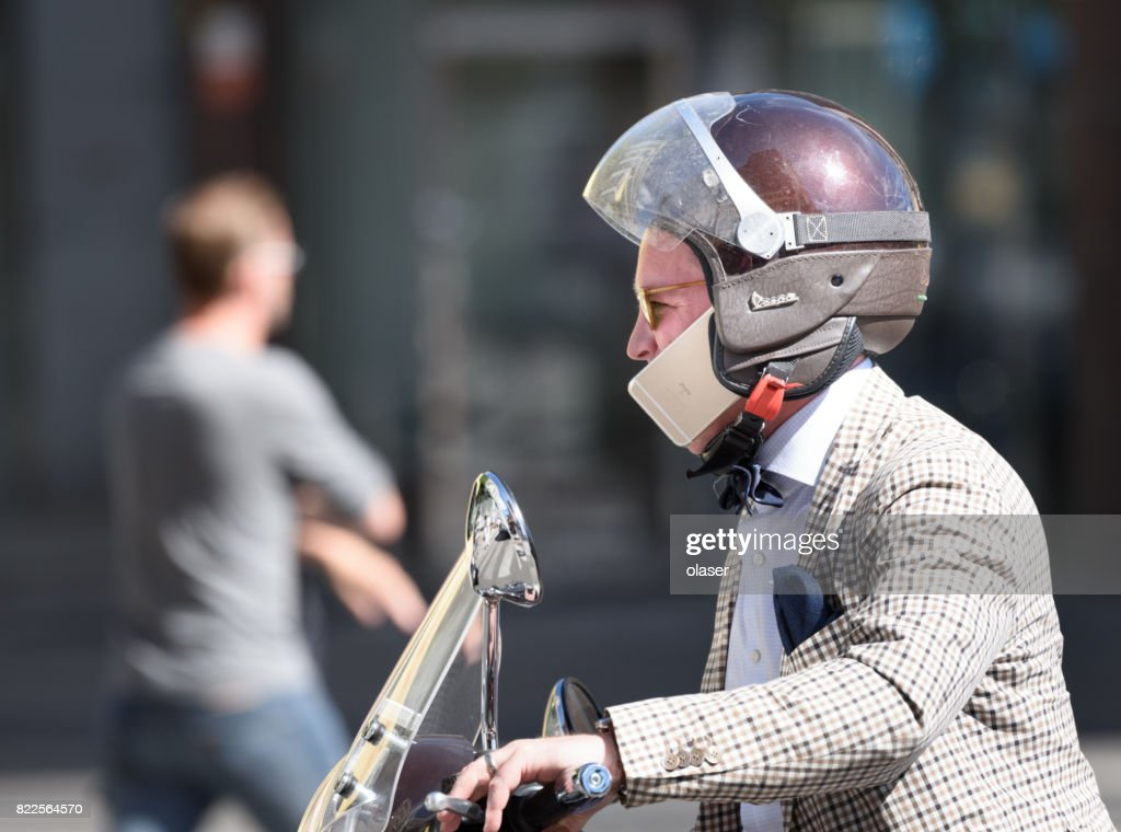 Man riding mc traffic : Stock Photo
