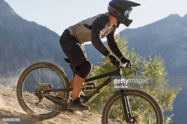 Man riding mtb downhill singletrack in Les Deux Alps