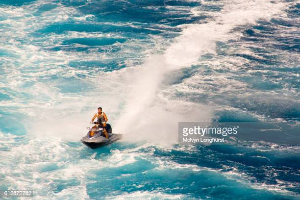 Man riding on his jet ski off the French coast, France