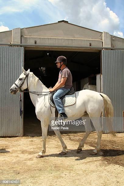 Man riding white horse