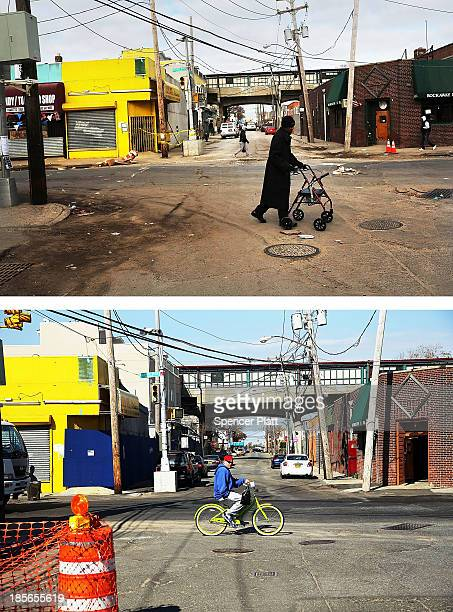 A man walks through the heavily damaged section November 19 2012 in the Rockaway neighborhood of the Queens borough of New York City NEW YORK NY...