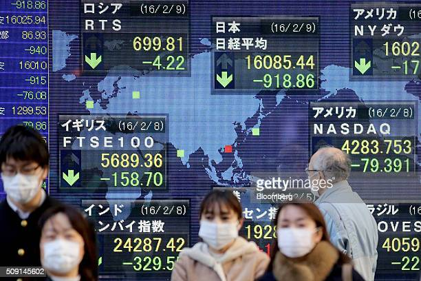 A man right looks at an electronic board displaying the closing price of the Nikkei 225 Stock Average top center alongside other major share indices...