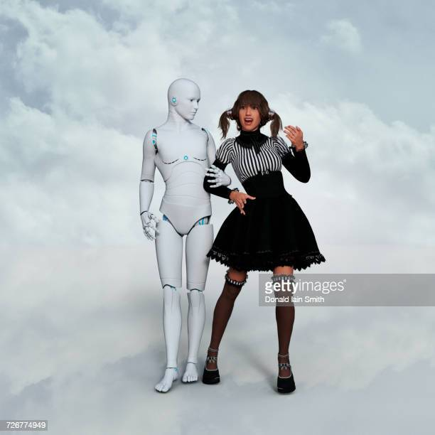 Man robot arm in arm with surprised woman