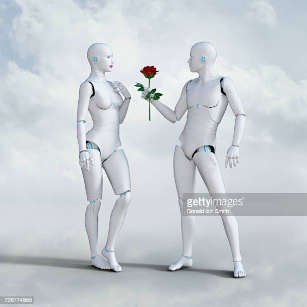 Man robot offering rose to woman robot