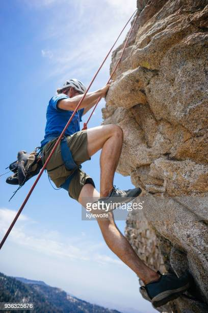 man rock climbing, buck rock lookout, sequoia national forest, california, america, usa - sequoia national forest stock photos and pictures