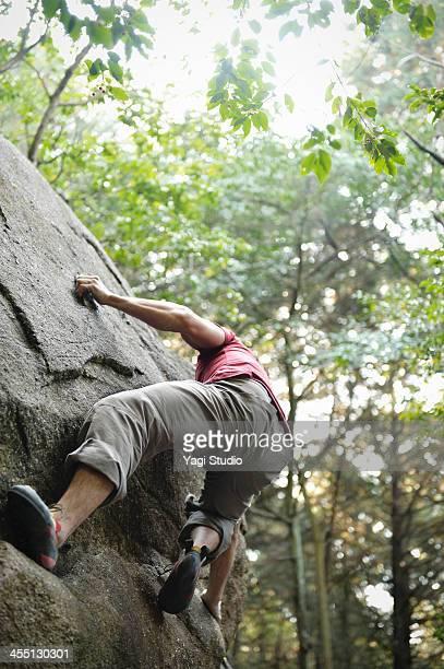 Man rock climbing in Japan